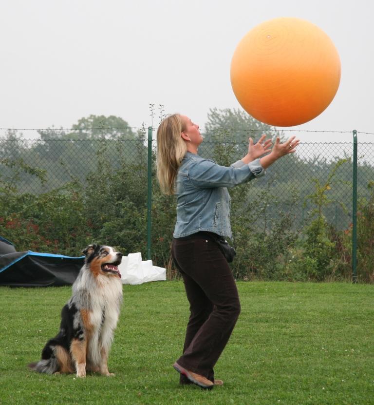 Mensch spielt mit Treibball